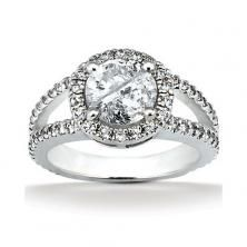 18k White Gold Round Halo Engagement Ring with Wide Split Shank available at Wheat Jewelers