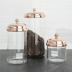Bodum ® Chambord Classic Copper Storage Jars Set of Three - Crate and Barrel Glass Storage Jars, Glass Canisters, Food Storage Containers, Jar Storage, Glass Jars, Kitchen Storage, Kitchen Jars, Kitchen Items, New Kitchen