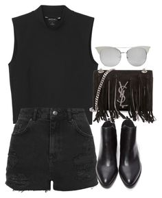 """Untitled #1337"" by breannaflorence ❤ liked on Polyvore featuring Monki, Topshop, Forever 21 and Yves Saint Laurent"