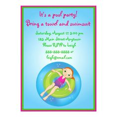 Redhead Girl Pool Party Birthday Invitation