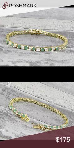 "18KT gold over 925 SS emerald & topaz Stunning!!! 18KT gold over 925 Sterling Silver emerald and topaz tennis bracelet 10g 7"" long 925 Jewelry Bracelets"
