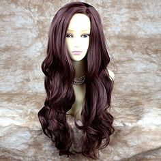 Fabulous Long Layers Wavy Wig Dark Auburn Ladies Wigs Skin Top WIWIGS >>> Click image for more details.(This is an Amazon affiliate link and I receive a commission for the sales)