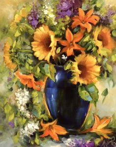 Artists Of Texas Contemporary Paintings and Art - Summer Season Sunflowers and a Hill Country Workshop by Texas Flower Artist Nancy Medina