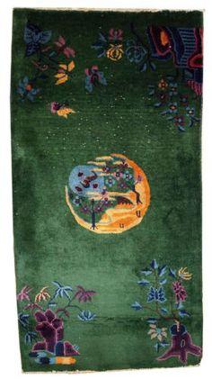 Tapis-anciens-Art-Deco-Chinois-faits-main-82cm-x-152cm-1920-Chinese-rug