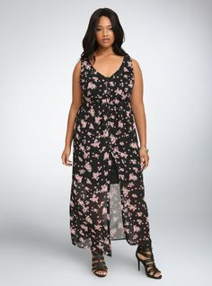 dfbdab9416f Torrid Floral Chiffon Maxi Shirt Dress - ShopStyle Women Sheer Chiffon