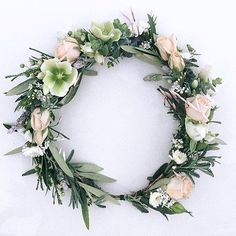 Bridal Flower Crown // Peach spray roses, natural green and ivory hellebores and olive & eucalyptus leaves www.thecrowncollective.co