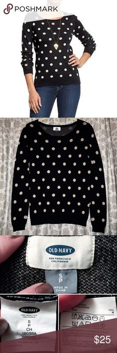 ⬇️[old navy] polka-dot sweater l/s crew neck • style name: polka-dot sweater • long sleeved crew neck sweater in black with light tan polka dots • great sweater for layering • get the polka dot sweater look  made popular by higher end retailers such as J.Crew • condition: great preowned, may have some minimal wear ____________________________________ ✅ make an offer!     ✅ i bundle!                      ⛔️ posh compliant closet & no trades Old Navy Sweaters Crew & Scoop Necks