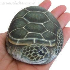 Único pintado a mano roca tortuga por Roberto Rizzo