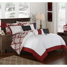 Chic Home 8 Piece Lalita Marsala and White Reversible Medallion printed Plush Hotel Collection Twin Bed In a Bag Comforter Set Marsala With sheet set, Red