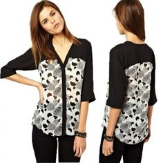 Elegante con cuello en V medias mangas Imprimir Blusa para las mujeres para Vender - La Tienda En Online IGOGO.ES