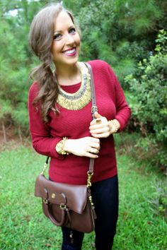 Burgundy,  brown satchel,  substantial textured statement necklace and Edgy bracelets