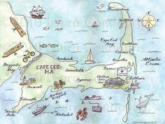 hand drawn Cape Cod wedding map