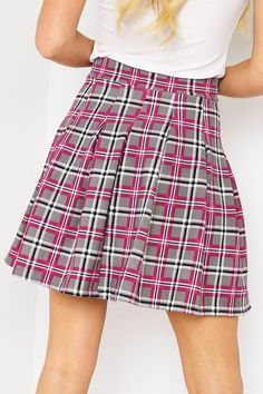Hayley Pink and Grey Tartan Pleated Tennis Skirt Pleated Tennis Skirt, Roll Neck Jumpers, Trouser Jeans, Leggings Are Not Pants, Pink Grey, Tartan, High Waisted Skirt, Lingerie, Mini