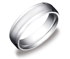 Men's 10k White Gold 6mm Comfort Fit High Polish Wedding Band Ring with Beveled Sides