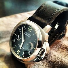 Panerai Luminor Marina on Bas and Lokes handmade leather watch strap. photo by @Bas And Lokes Handmade  Leather Goods via ink361.com