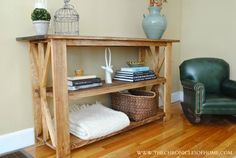 The Chronicles of Home: {DIY} Rustic X Base Console Table furniture