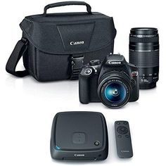 Canon EOS Rebel T6 SLR Camera w/ 18-55mm and 75-300mm Lens Kit  CS100 1TB Connect Station Storage Hub Bundle