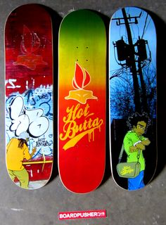 Today's graffiti inspired Featured Decks by Eric Finley are just a sample of the boards you can pick up at www.BoardPusher.com/shop/HotButtas. street art
