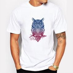 Summer Casual Tee Top Owl Printing Round Neck Short sleeve T-shirt ($12) ❤ liked on Polyvore featuring men's fashion, men's clothing, men's shirts, men's t-shirts, mens print shirts, mens leopard print t shirt, mens white shirts, mens short sleeve shirts and mens owl t shirt