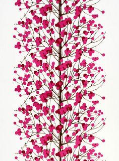 Lumimarja-puuvilla (valkoinen,puna,pinkki,ruskea) |Kankaat, Puuvillakankaat | Marimekko