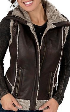 Cripple Creek® Women's Brown with Sherpa Collar and Trim Aviator Vest   Cavender's