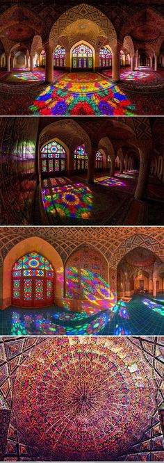 A stunning mosque, illuminated with all of the colors of the rainbow.