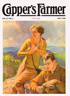 Capper's Farmer 1930-06 Man and woman, hiking through the hills, pause on top of a ridge to take a drink from their thermos bottle.   Artist: John Newton Howitt