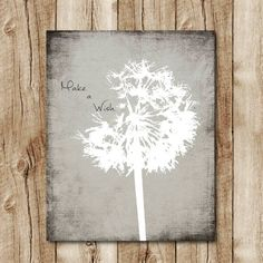 dandelion print neutral colors, grey wall decor, make a wish, dandelion instant download, black and white art jpg, dandelion quote poster