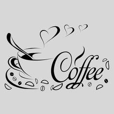 Wandtattoo Küche Kaffee Tasse Esszimmer Wohnzimmer Herz Liebe Spruch Cafe Coffee: I Love Coffee, Coffee Art, Coffee Time, Coffee Shop, Coffee Cups, Line Art, Stencils, Stencil Templates, Portrait Silhouette