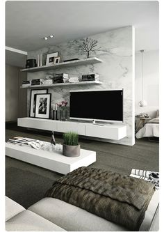 TV Unit And Shelving And Marble Room Divider Part 71