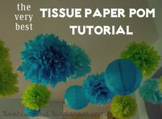 Tissue Paper Pom Pom Flower Tutorial. I've looked around and this seems to be the best, most detailed tutorial for DIY paper pom poms.