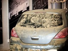 We bet the owner of this portrait of pop icons loves to blast the stereo. #InkedMagazine #art #dirt #car #dirtycar #cool #popculture #icons