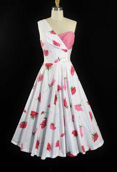 One Shoulder Rose Print Dress Vintage 1950s Dresses, Vintage Outfits, 1950s Fashion, Vintage Fashion, Vintage Style, Rose Print Dress, Full Circle Skirts, Textiles, Fashion History