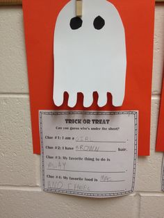 Halloween Activity. Trick or Treat Can you guess whose under the sheet? Different versions for a wide range of learners.