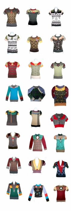 Recycle / Upcycle / Refashion — DIY inspiration: recycle old sweaters! Diy Clothing, Sewing Clothes, Pullover Upcycling, Umgestaltete Shirts, Alter Pullover, Modelos Fashion, Recycled Sweaters, Old Sweater, Sweater Refashion