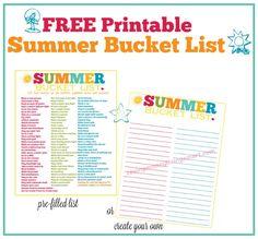 FREE Printable Summer Bucket List - 100 Fun Things To Do - Saving Money Living Smart