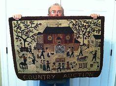 Vintage Hand Hooked Rug Wool Rughooking Peggy Teich Huge Primitive USA | eBay