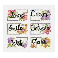 A set of 6 floral inspirational word cross stitch patterns, would be ideal to be used as cards.  Chart specs. each • stitch count - 54 x 30 stitches • finished size - 3.8 in x 2.1 in / 9.8 cm x 5.4 cm  when sewn on 14 count aida • stitches used - whole cross stitch, and back stitch.  This chart arrives to you as an instant pdf download.  The pdf includes • full colour chart with symbols • key for DMC stranded thread  © Durene Jones 2017. This pattern is for personal use only. Thank you a...