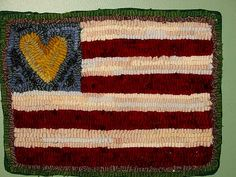 Hooked rug flag