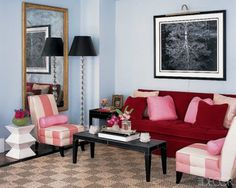 Checkered Sisal Rug With A Red, Pink, Powder Blue Color Scheme.