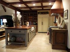 A French gray island and cabinets are features in an Alabama Stone Cottage kitchen. Small Space Kitchen, Kitchen On A Budget, Kitchen Ideas, Kitchen Decor, Cottage Kitchens, Home Kitchens, Dream Kitchens, Kitsch, Painting Oak Cabinets