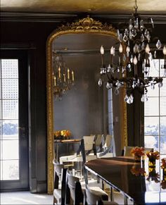 I'm not sure about the mirror in the dining room, although this is a beautiful one. I'm not sure that I really want to see myself and others eating. What do you think?