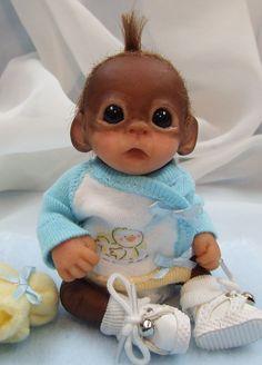 OOAK Baby Orangutan Monkey Boy Sculpted Polymer Clay Art Doll
