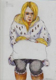 白豹柄のコートのお姉さん  It is a sketch of the woman wearing coat of white leopard print.  I drew on the train going to work.