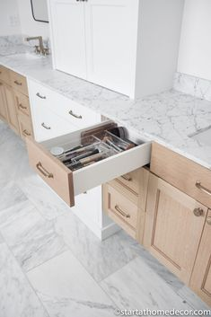 Master Bathroom Reveal | Start at Home Decor | Bathroom Organization Freestanding Tub Filler, Quarter Sawn White Oak, Floating Vanity, Hanging Light Fixtures, Bathroom Stuff, Roller Shades, Funky Junk, Bathroom Organization