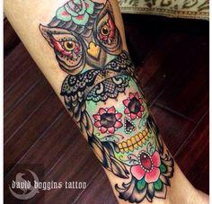 Pretty owl & sugar skull with pretty lace & colors by David Boggins