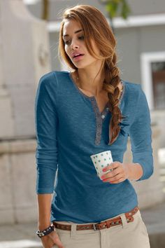 Urban Contrast Trim Top at EziBuy New Zealand. Buy women's, men's and kids fashion online. Look Fashion, Fashion Outfits, Kids Fashion, Latest Fashion For Women, Womens Fashion, Fashion Online, Polo Shirt Outfits, Autumn T Shirts, Casual Outfits