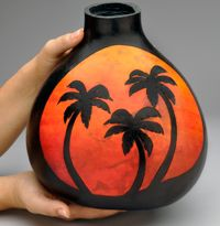 "Artist Krystal Garrido used Stick 'n Burn ""Tropical Designs""  From welburn gourds"