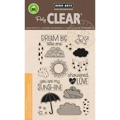 Sun Showers Stamp • Hero Arts Sun Showers Clear Stamps • Cloud Stamp • Summer • Rain Drop • Umbrella • Weather • Star • Bird Stamp (CL869)