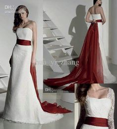 red accented wedding gowns | Wedding Dresses with Red Accents ...
